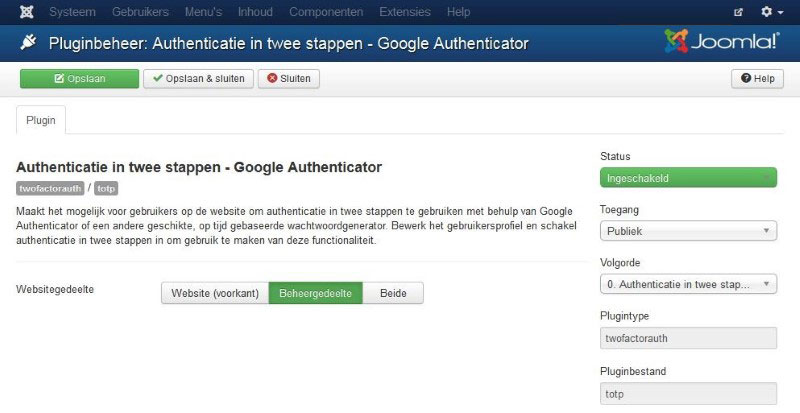 Authenticatiie in twee stappen plugin activeren