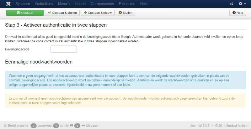 Authenticatiie in twee stappen code activeren